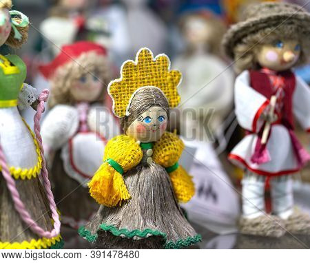 Belarusian Folk Doll. National Traditional Folk Dolls Are Popular Souvenirs From Belarus.