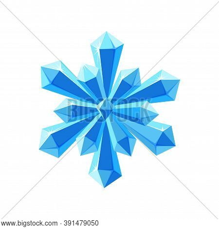 Crystal Snowflake With Sparkling Facets. Shimmering Star Snowflake Made Of Blue Crystals Isolated In