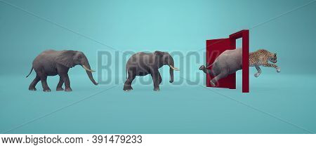 Elephants Entering A Door And Gets Out As A Cheetah . Changing Mindset And Different Approach Concep
