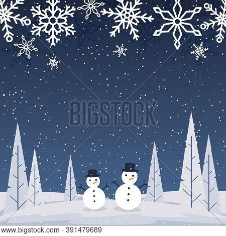 Snow Landscape Happy New Year Holiday Greeting Card Background Template