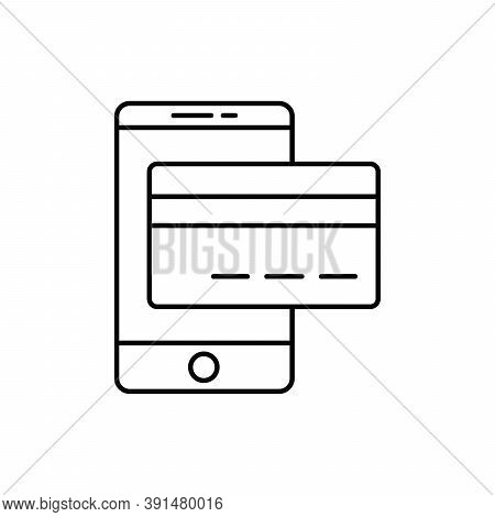 Mobile Payment Single Isolated Icon With Line Or Outline Style