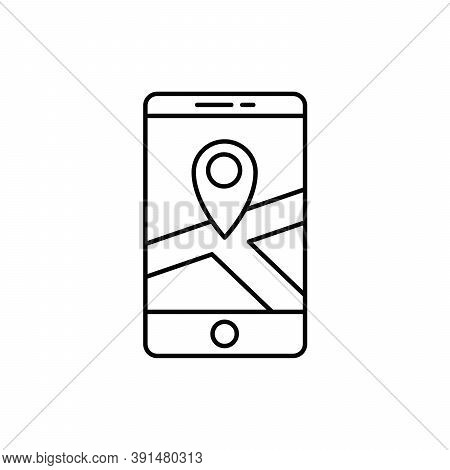 Gps Maps Location On Smartphone Single Isolated Icon With Line Or Outline Style