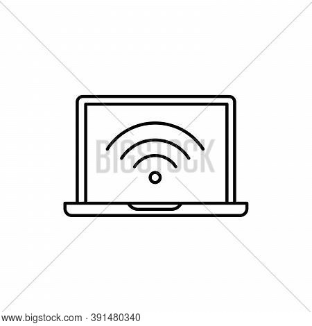 Wifi Technology On Laptop Internet Network Single Isolated Icon With Line Or Outline Style