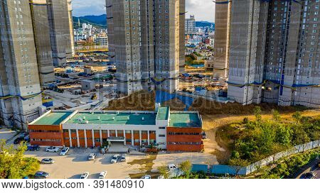 Daejeon, South Korea; September 24,2020: Aerial View Of Construction Site Or New Highrise Apartments