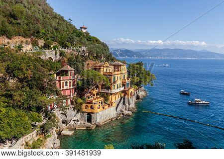 Natural View Of The Ligurian Coast Near The Famous City Of Portofino In Italy. House Overlooking The
