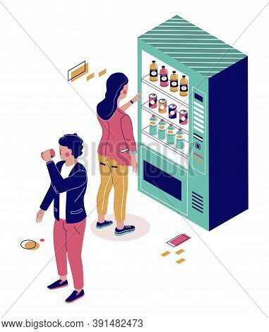 People Buying Soda, Cola, Water From Drink Vending Machine, Flat Vector Isometric Illustration. Beve