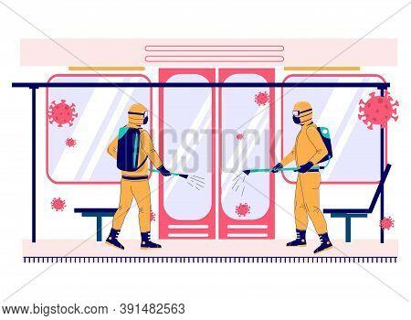 Coronavirus Pandemic. People In Hazmat Suits Disinfecting Subway Metro Train, Flat Vector Illustrati