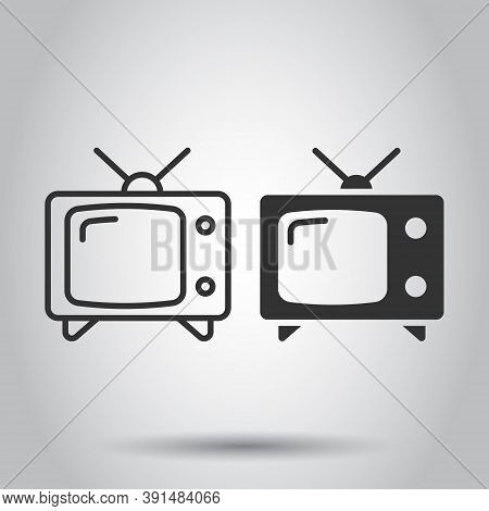 Retro Tv Screen Vector Icon In Flat Style. Old Television Illustration On White Isolated Background.