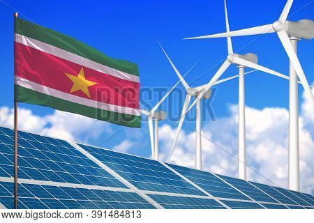 Suriname Solar And Wind Energy, Renewable Energy Concept With Windmills - Renewable Energy Against G