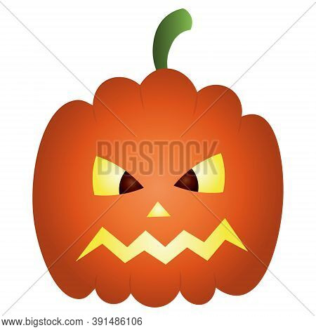 Pumpkin. Sketch. Ominous Grimace. Halloween Symbol. Colored Vector Illustration. Isolated White Back