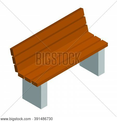 Simple Brown City Bench With Backrest In Isometric View Isolated On White. Concrete Base And Wooden