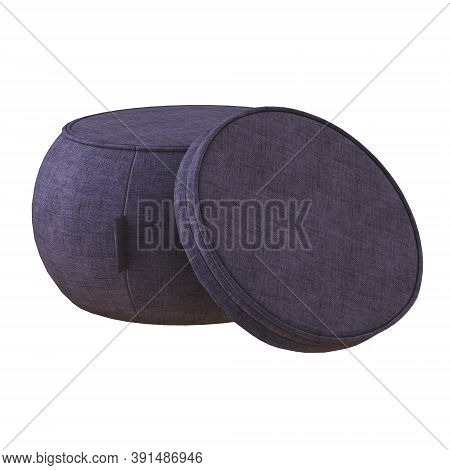Round Pouf With A Fabric Seat On A White Background. 3d Rendering