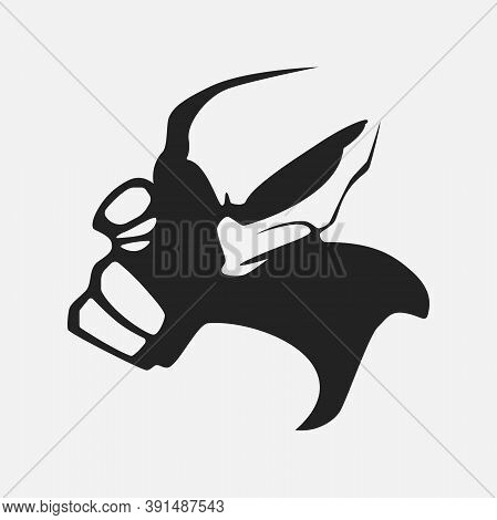 Silhouette Of An Alien In A Minimalistic Style Isolated On A White Background. Vector Illustration.