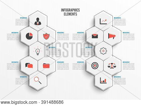 Vector Infographic Template With 3d Paper Label, Integrated Circles. Business Concept With 14 Option