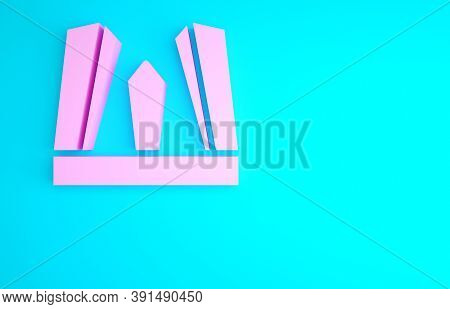 Pink Gate Of Europe Icon Isolated On Blue Background. The Puerta De Europa Towers. Madrid City, Spai