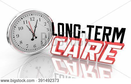 Long-Term Care Clock Time Insurance Health Plan Policy 3d Illustration