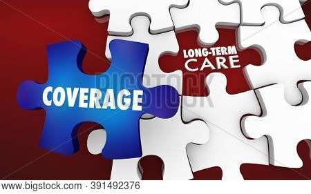 Long Term Care Health Senior Insurance Coverage Policy Plan 3d Illustration