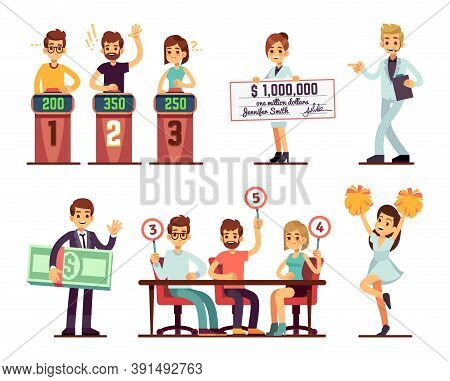 Tv Show Participants. People Jury, Showman, Girl With Prize Bank Check And Rating. Isolated Cartoon