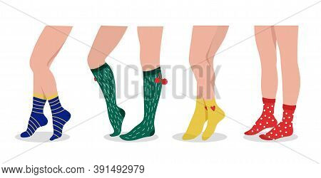 Female Legs Wear Socks. Colorful Sport And Daily Accessories. Fashion Pair Underwear, Christmas Foot