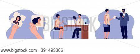 Hr Agency. Recruitment, Job Seekers Application. Woman Employer Hiring, Career Service Illustration.