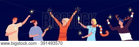 Christmas Friends Party. Cartoon Happy New Year, Xmas Holidays. Man Woman Holding Fireworks And Glas