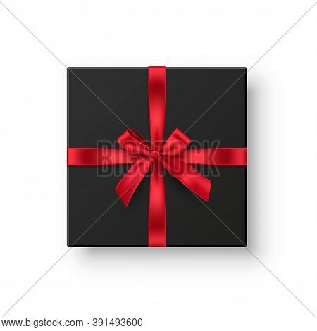Black Gift Box With Red Ribbon. Elegant Present With Bow Isolated On White Background. Special Offer