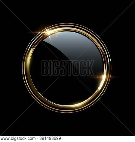 Golden Round Metal Rings Around Glass Circle. Shining Abstract Triple Frame. Yellow Shiny Circular L