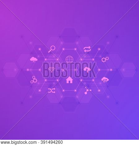 Technology Background With Flat Icons And Symbols. Concept And Idea For Internet Of Things, Communic
