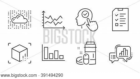 Diagram Chart, Medical Drugs And Graph Chart Line Icons Set. Select User, Interview And Cloud System