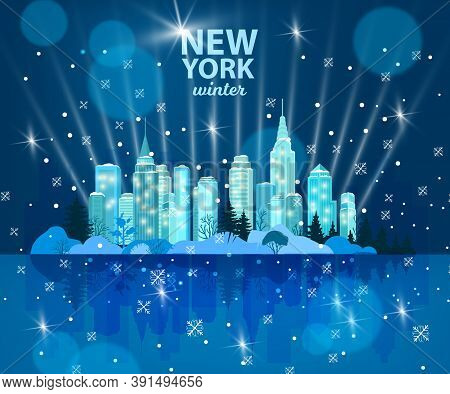 Christmas Winter City Vector Background With Snow, Skyscrapers, Stars, Night Sky, Water Reflection.