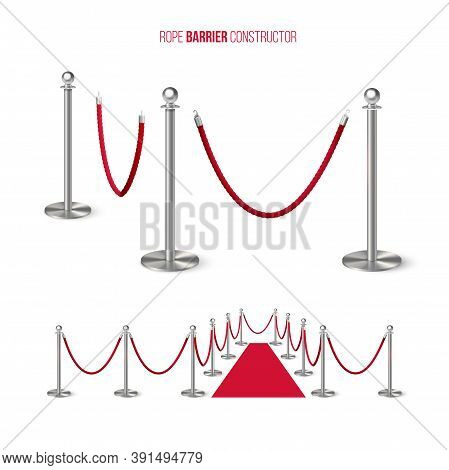 Red Carpet With Metal Column Guard Isolated On White Background. Entertainment, Festival Event, Rewa