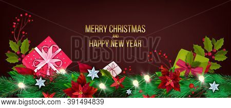 Poinsettia Christmas And Happy New Year Postcard With Fir Branches, Gift Boxes, Holly, Berries. Wint