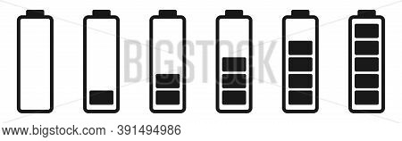 Battery Level Indicator In Black. Isolated Power Symbol On White Background. Low And Full Of Charge