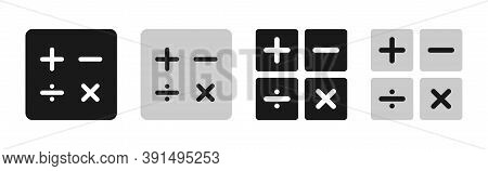 Calculator Buttons On White Background. Isolated Callculate Pictogram In Black And Grey. Square Math