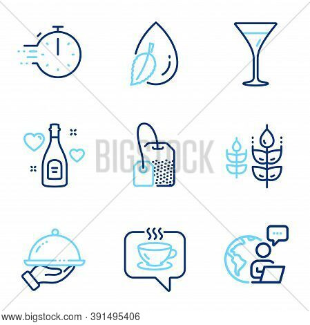 Food And Drink Icons Set. Included Icon As Coffee, Gluten Free, Tea Bag Signs. Restaurant Food, Love