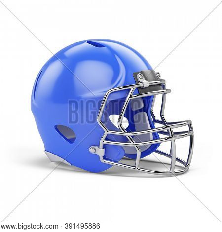 Blue American football helmet isolated on white background. 3d rendering