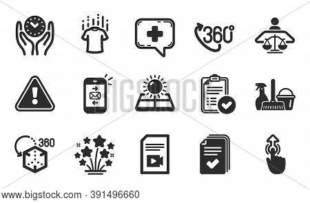 360 Degree, Handout And Mail Icons Simple Set. Court Judge, Swipe Up And Approved Report Signs. Vide