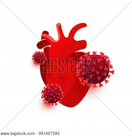 Coronavirus, Covid 19 Dangerous Cells Infect The Heart Organ Isolated On White Background