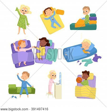 Cute Little Children Sleeping Sweetly In Their Beds Set, Bedtime, Sweet Dreams Of Adorable Kids Conc
