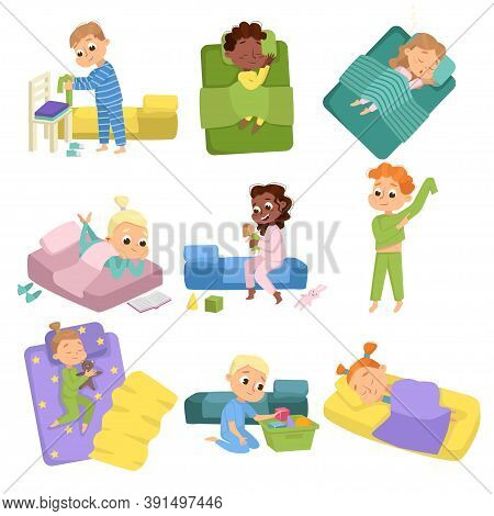 Cute Little Children Sleeping Sweetly In Their Beds Set, Boys And Girls Getting Ready To Sleep, Swee