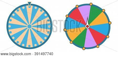 Casino Wheel In Cartoon Style. Isolated Fortune Roulette Collection. Colorful Game Circle On White B