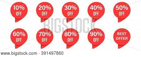 Price Discount Label In Red Circle. Isolated Sale Tags On White Background. Special Offer Sign From