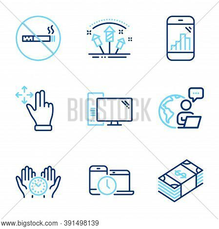 Business Icons Set. Included Icon As Move Gesture, Fireworks Rocket, Usd Currency Signs. Safe Time,