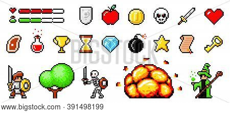 Set Of Minimalistic Pixel Art Vector Objects Isolated. Pixel Game Buttons. 8 Bit Ui Gaming Bar Notat