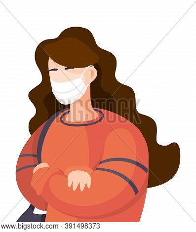 Young Woman Wearing Face Medical Mask Standing At White Background. Viral Pandemic. Coronavirus 2019