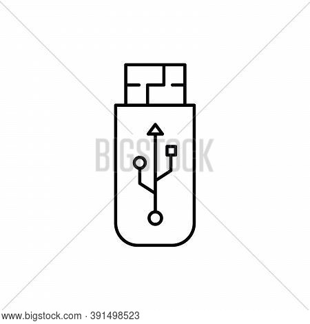 Usb Flash Or Pen Drive Single Isolated Icon With Line Or Outline Style