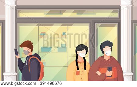 Vector Illustration Of People Wering Medical Masks During Viral Pandemia In Public Place. People Bre