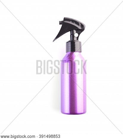 Pink Cosmetic Spray Bottle Isolated On White Background. Closeup Of Plastic Container For Hair Care