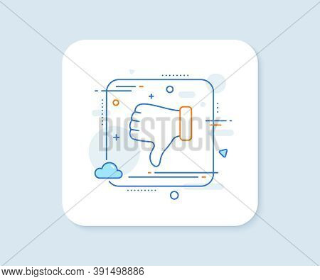 Dislike Hand Line Icon. Abstract Square Vector Button. Thumbs Down Finger Sign. Gesture Symbol. Disl