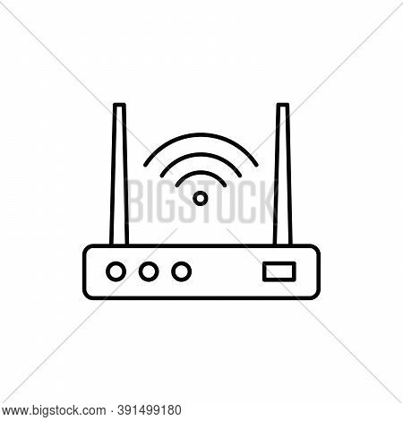 Wifi Router Device Single Isolated Icon With Line Or Outline Style